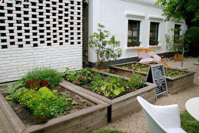 Gemüse- und Kräuterbeete vor dem Haus